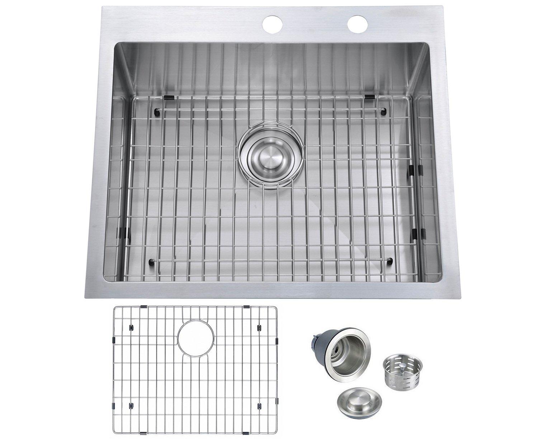 BILLION 25''x22''x10'' Inch Drop-in Overmount 16 Gauge Handmade Single Bowl Stainless Steel Kitchen Sink, Round Corners Topmount Sink With Drainer & Bottom Grid