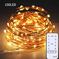 SFUN USB Powered Fairy String Lights with Remote Control 33ft 120LED 8 Modes for Valentine's Day Wedding Party Home Decoration