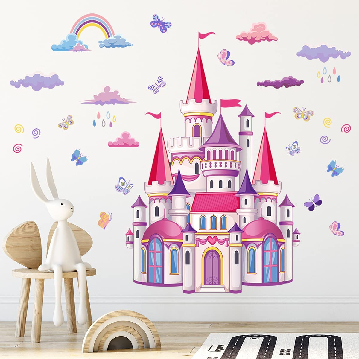 Colorful Castle Wall Decal,Rainbow Butterfly Wall Stickers Clouds Rain Peel and Stick Removable Decorations Décor for Girls Girls Bedroom Kids Nursery Living Room Murals