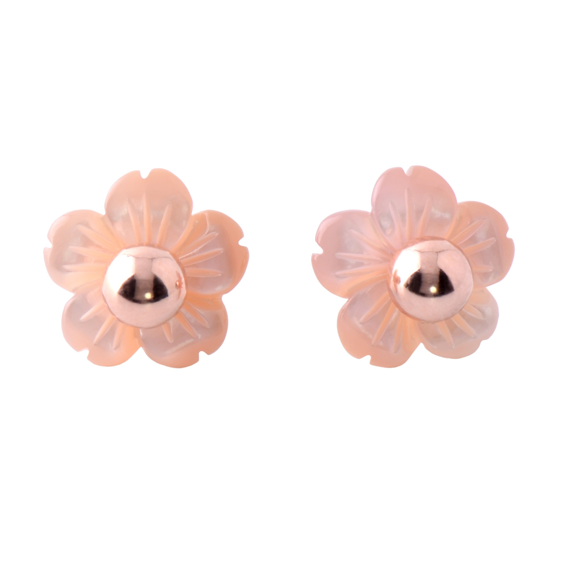 Paialco Mother of Pearl Flower Shape Earring Jackets Ball Rose Gold Tone 6MM