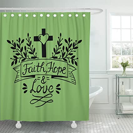 Image Unavailable Not Available For Color TOMPOP Shower Curtain Hand Lettering Faith Hope And Love