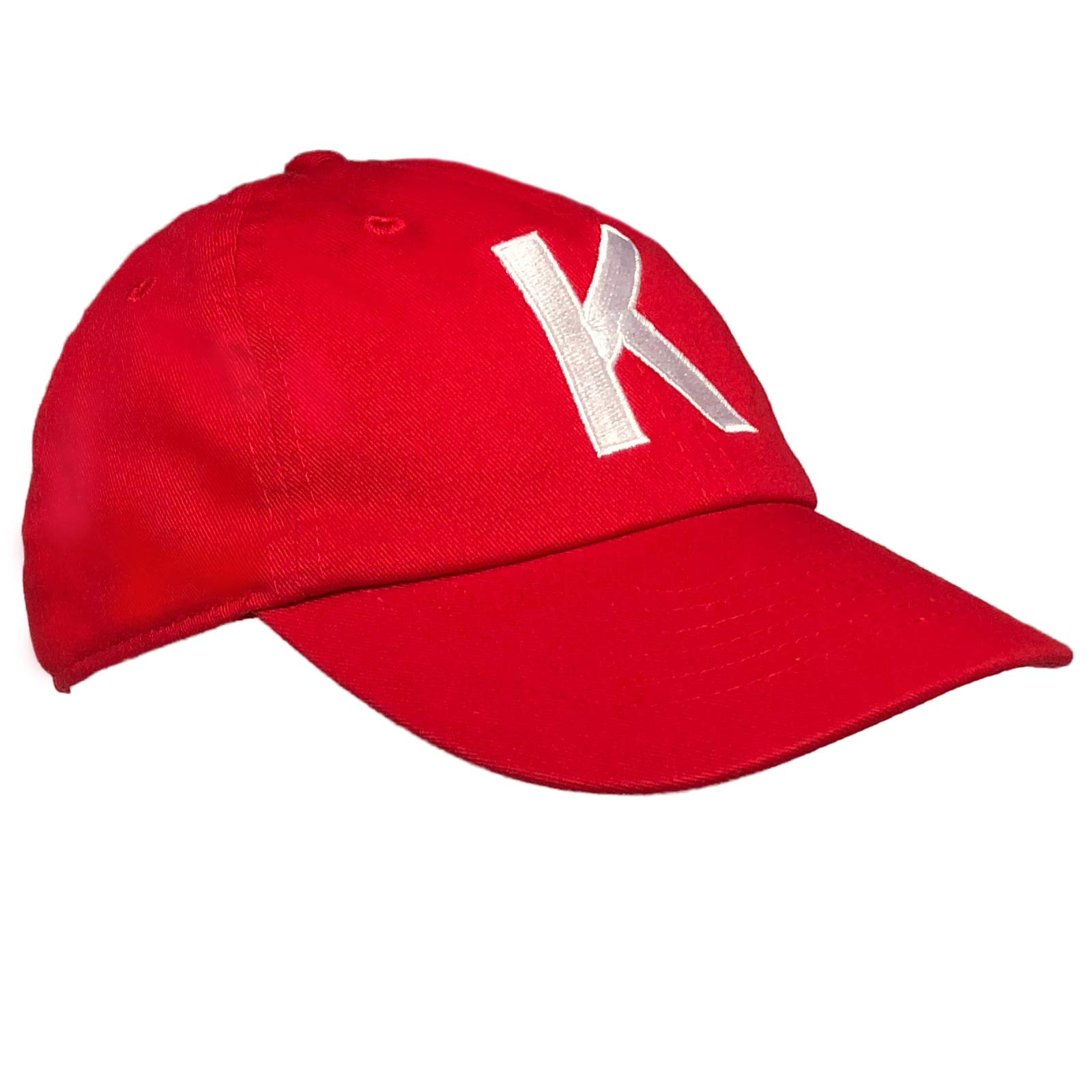 Tiny Expressions Toddler Boys' and Girls' Red Embroidered Initial Baseball Hat Monogrammed Cap (K, 2-6yrs)