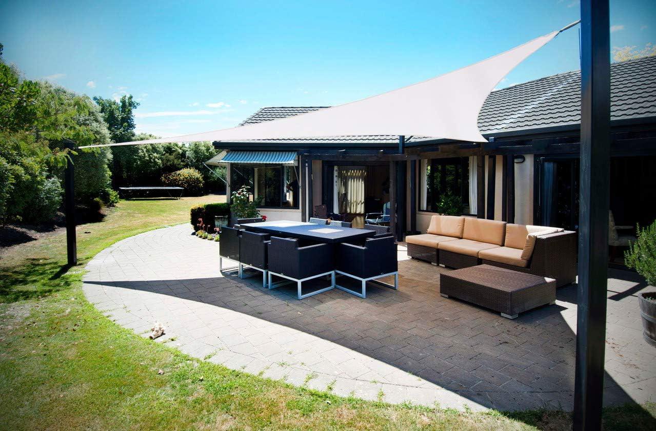 SUNNY GUARD Toldo Vela de Sombra Triangular 5x5x5m Impermeable a Prueba de Viento protección UV para Patio, Exteriores, Jardín, Color Crema: Amazon.es: Jardín
