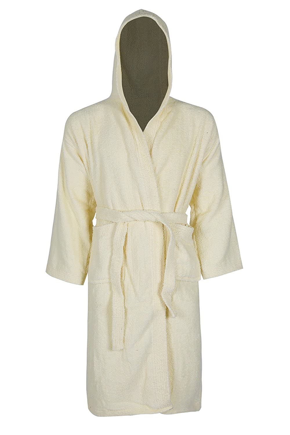 Linen Galaxy Women Ladies Cream Colour Girls 100% Egyptian Cotton Terry  Towelling Bath Robe Hooded Soft Dressing Gown S M  Amazon.co.uk  Clothing 0560b59bf