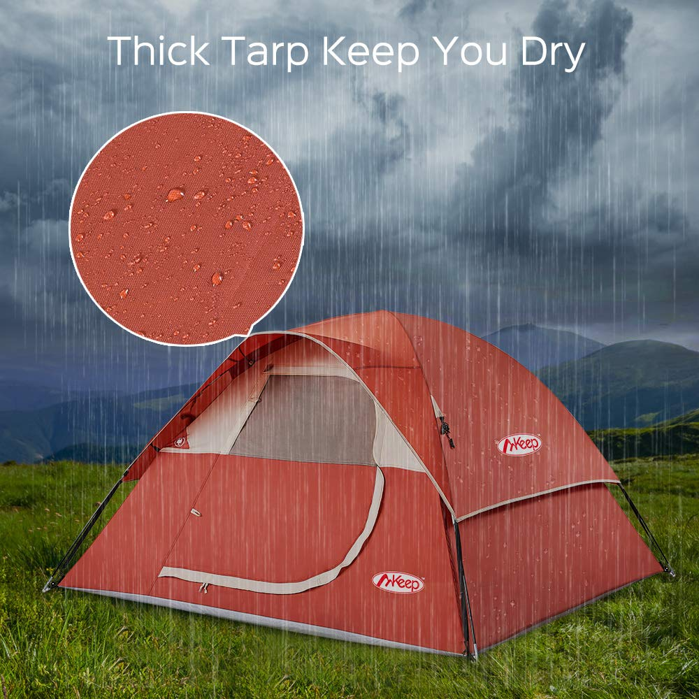3 Person Tent – Easy Quick Setup Tent for Camping, Professional Waterproof Windproof Fabric, 3 Large Mesh for Ventilation, Anti-UV, Double Layer, Lightweight Portable with Carry Bag, Red