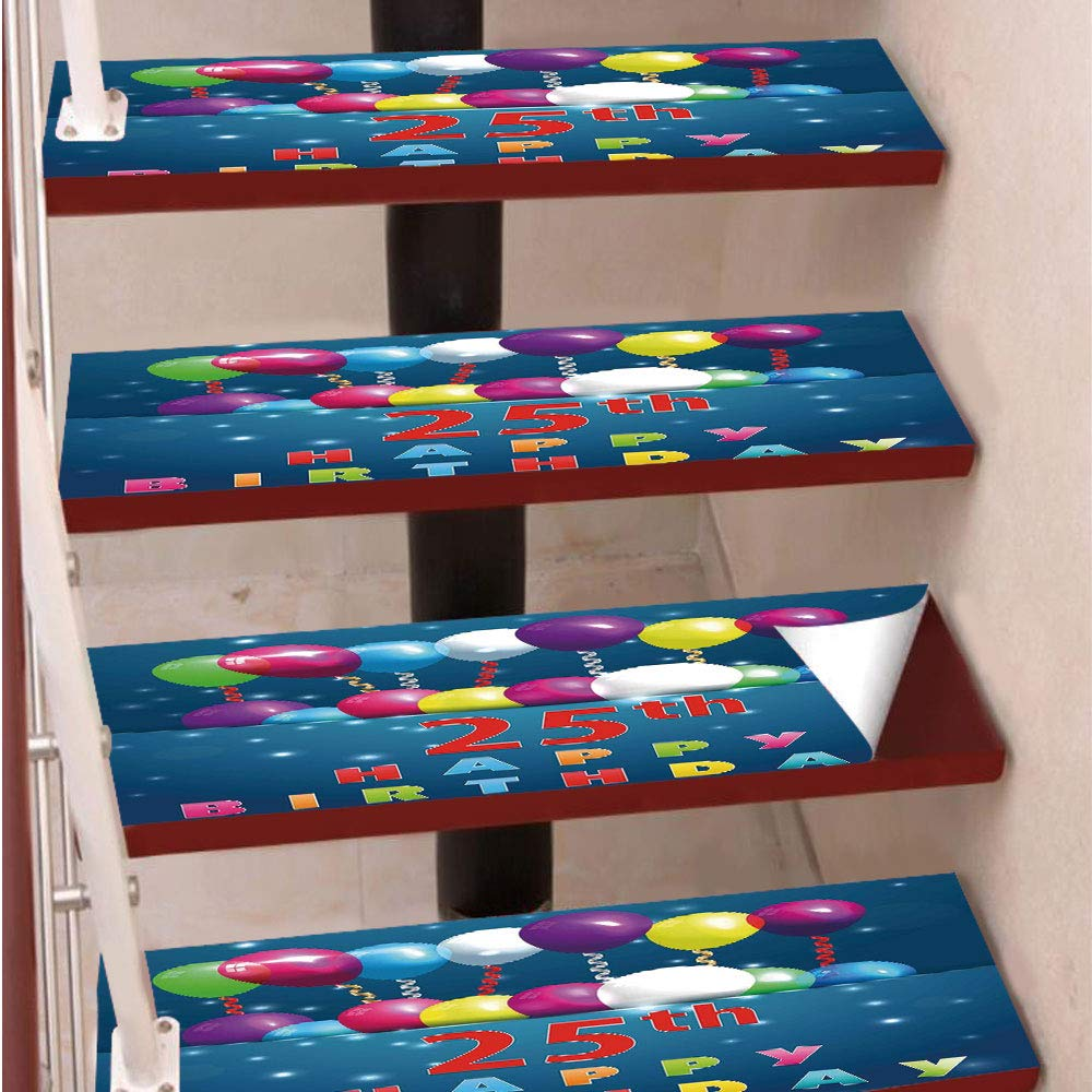 3D Print Non-Slip PVC Stair Pads,Self-Adhesive Steps Sticker,Staircase Treads Protector,Surprise Party Theme Blue Backdrop Swirled Ribbons Twenty Five,for Home Decoration(9.8X39 inch) Set of 5PCS,Mult