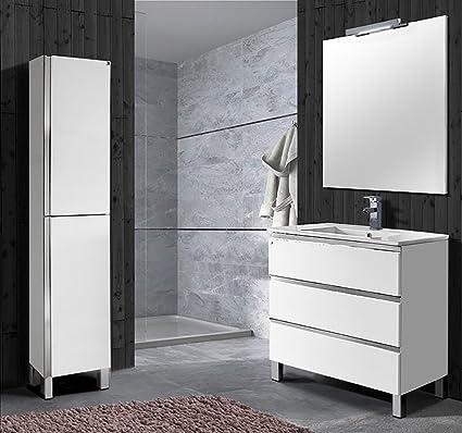 Conjunto Mueble De Baño Estepona De 80 Cm Blanco Brillo Amazones