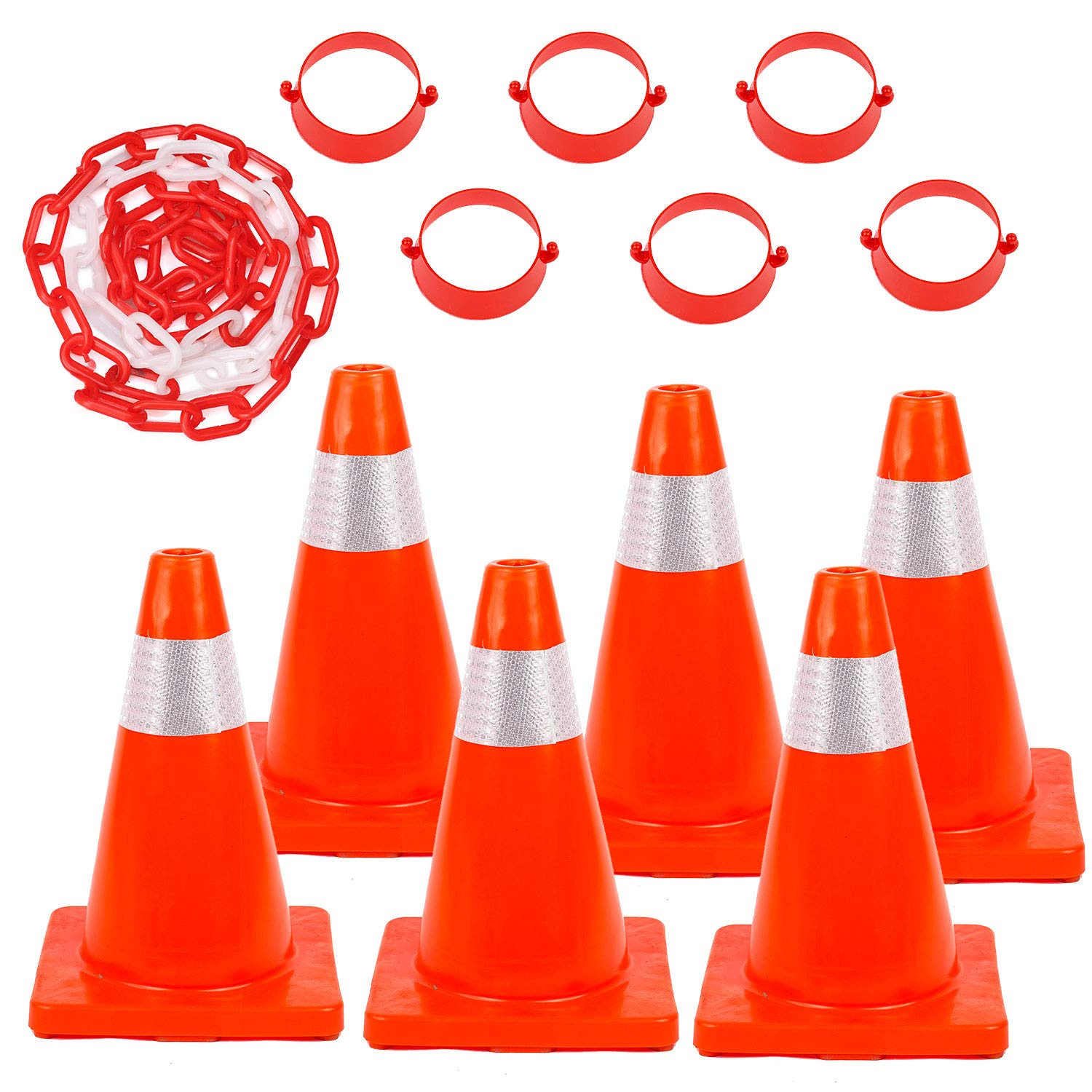 Traffic Safety Cones 6 Pack 18'' with Reflective Collars and 32FT Chain Connector Kit PVC Unbreakable Orange Construction for Traffic Home Parking