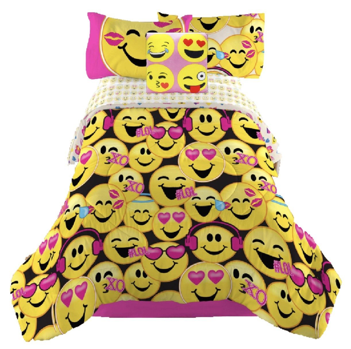 Emoji Complete Girls Bedding Comforter Set with Decorative Square Throw Pillow - Twin