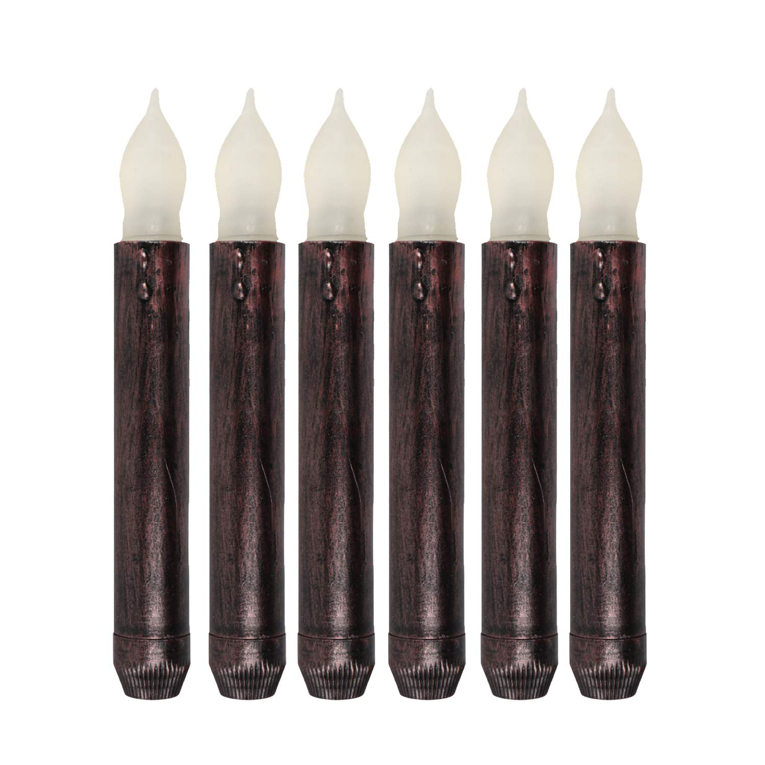 Set of 6 Flameless Black Taper Candles Battery Operated Flameless Unscented Led Candle Orange Flickering Short Bulb for Halloween Decoration Church Memorial Service Beauty Collector CB-CDL5099F-6_amber