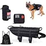 Tactical Dog Vest-Training Molle Harness-tactical dog backpack-Pet tactical -vest Detachable Pouches-Relective Patches