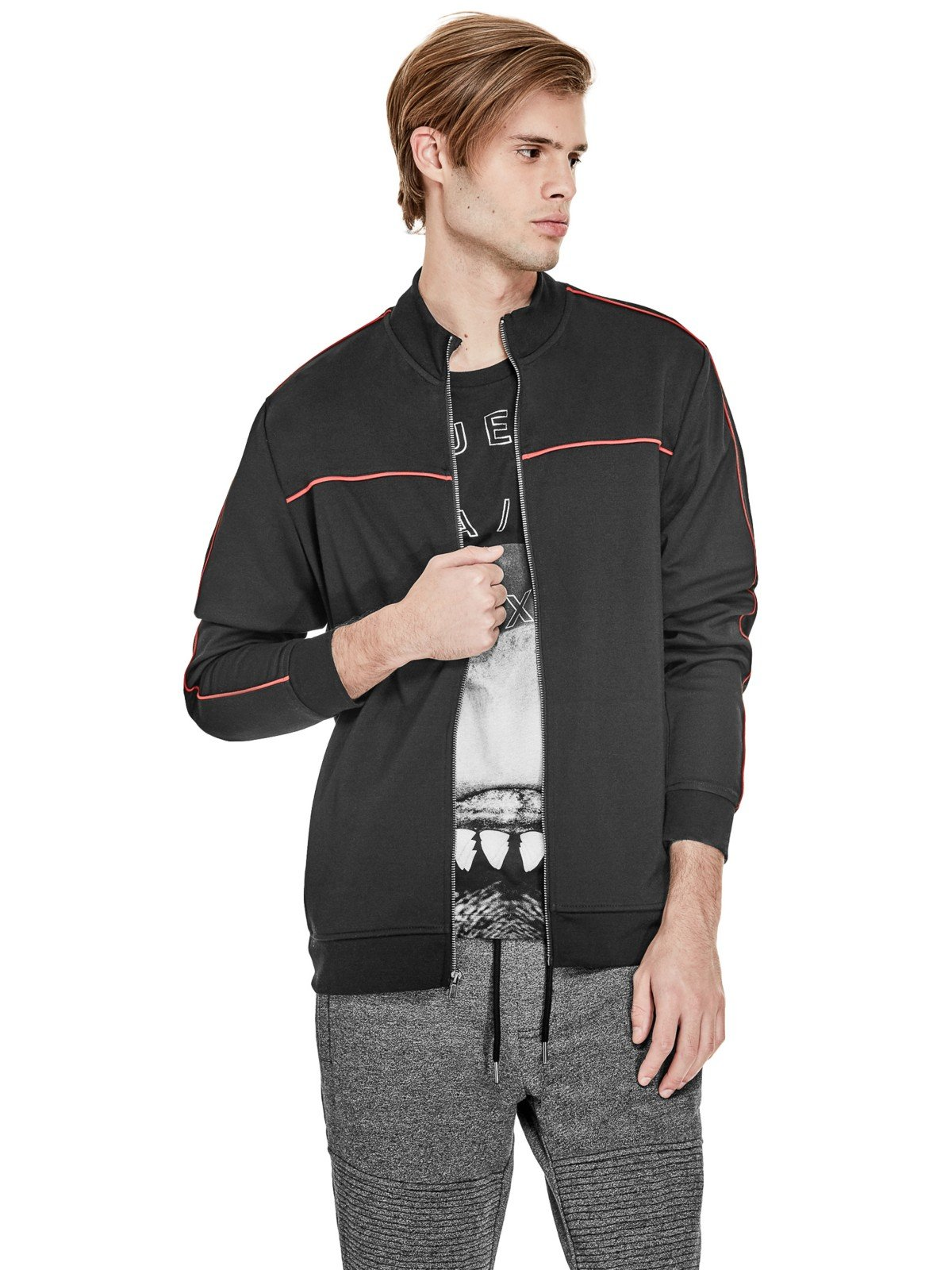 GUESS Factory Men's Melvin Mock Zip-Up Jacket