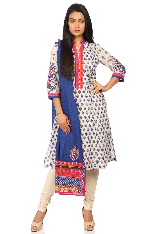 BIBA Women's Blue Cotton Salwar Kameez Dupatta Size 34