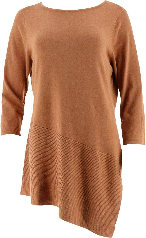 Linea Louis Dell'Olio Knit Asymmetrical Hem Tunic New A263355