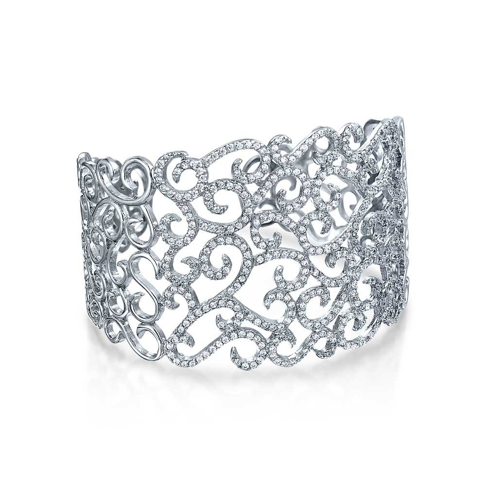 Bling Jewelry Cubic Zirconia Pave CZ Accent Floral Scroll Wide Prom Statement Cuff Bracelet for Women Pageant Brides Sterling Silver