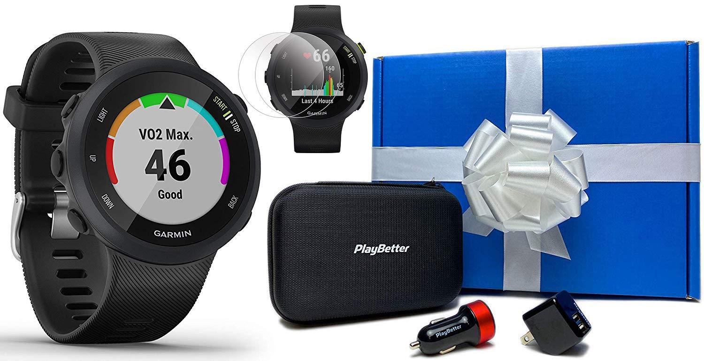 Garmin Forerunner 45 (Black) Running GPS Watch Runner Bundle | +Garmin Water Bottle, HD Screen Protectors & PlayBetter…