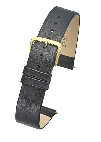 03f293aa4719 Amazon.com  Genuine Thin Leather Watch Band - Flat Slim Leather Watch Strap  in Extra Long Length for Wider Wrists ONLY- Black- 12XL (fits Wrist Sizes 7  1 2 ...