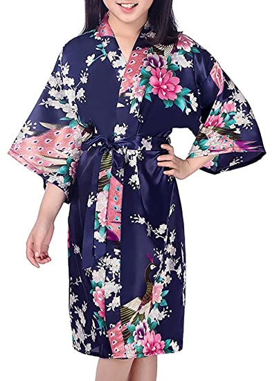 Mobarta Kids  Floral Satin Kimono Robe Peacock Bathrobe Flower Girl Getting  Ready Robe Wedding Spa 17e9458f3