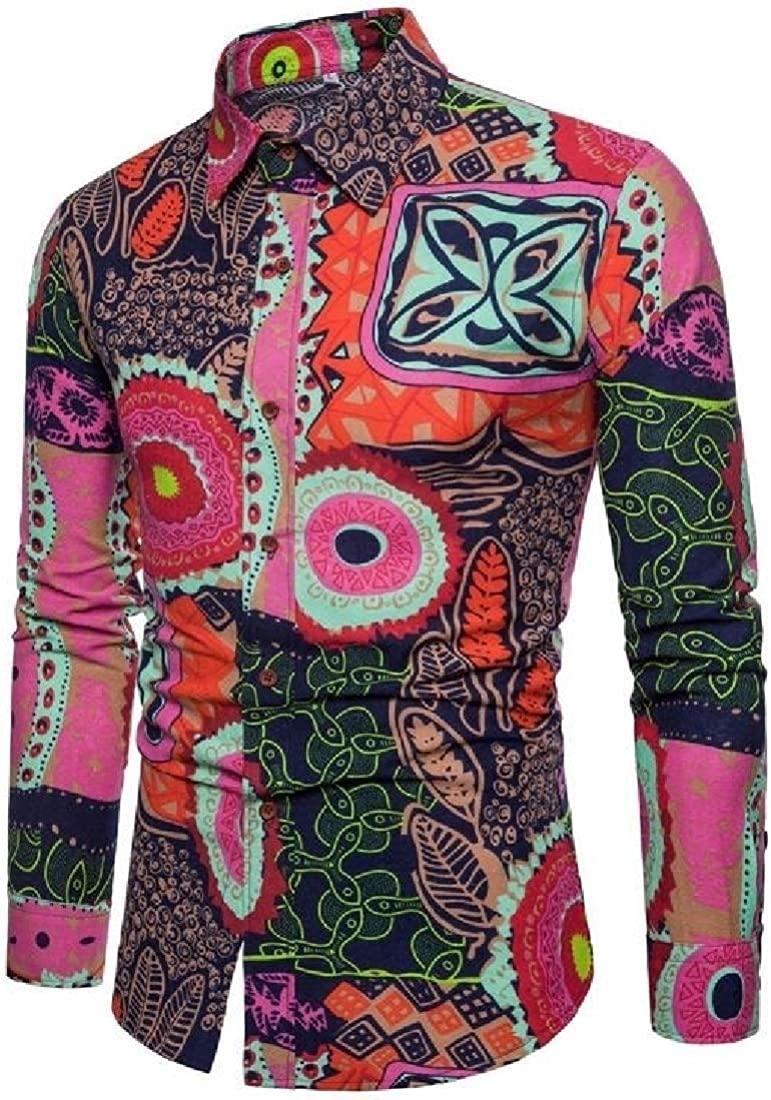 ARTFFEL Mens Print Casual Fashion Long Sleeve Slim Fit Big and Tall Shirt