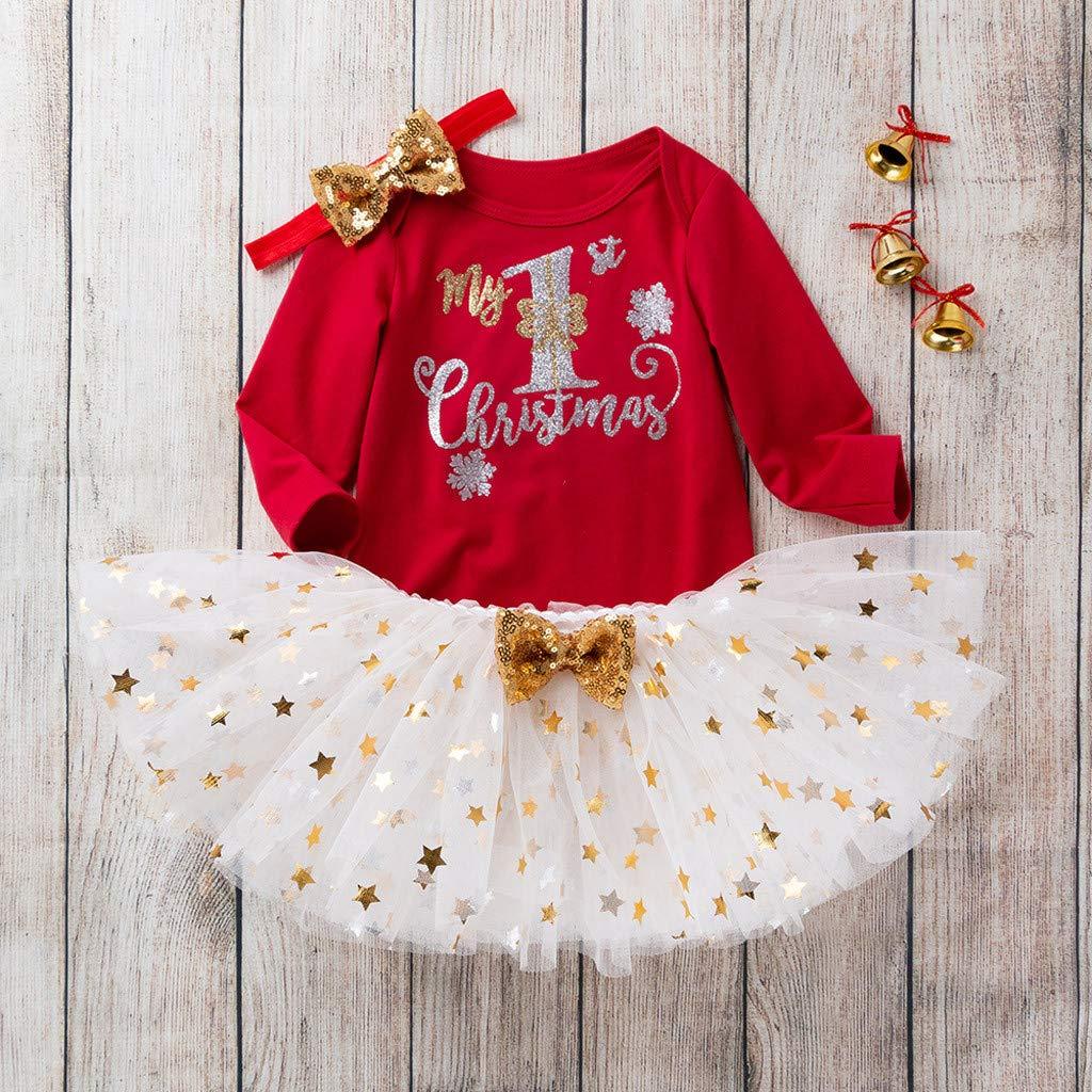 Honestyi Abito Bambina Abiti da Cerimonia Fasce per Capelli Gonna di Natale Abiti Stampa di Lettere di Natale Abitini Vestiti per Bambini
