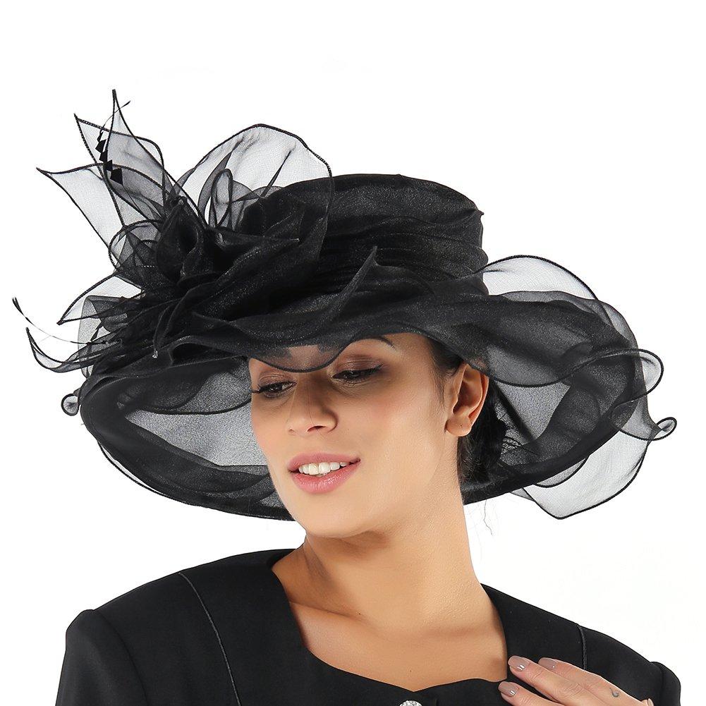 June s Young Women Hats Summer Big Hat Wide Brim Top Flower White Black  (Black-1)  Amazon.ca  Clothing   Accessories fd90bc0fd9e