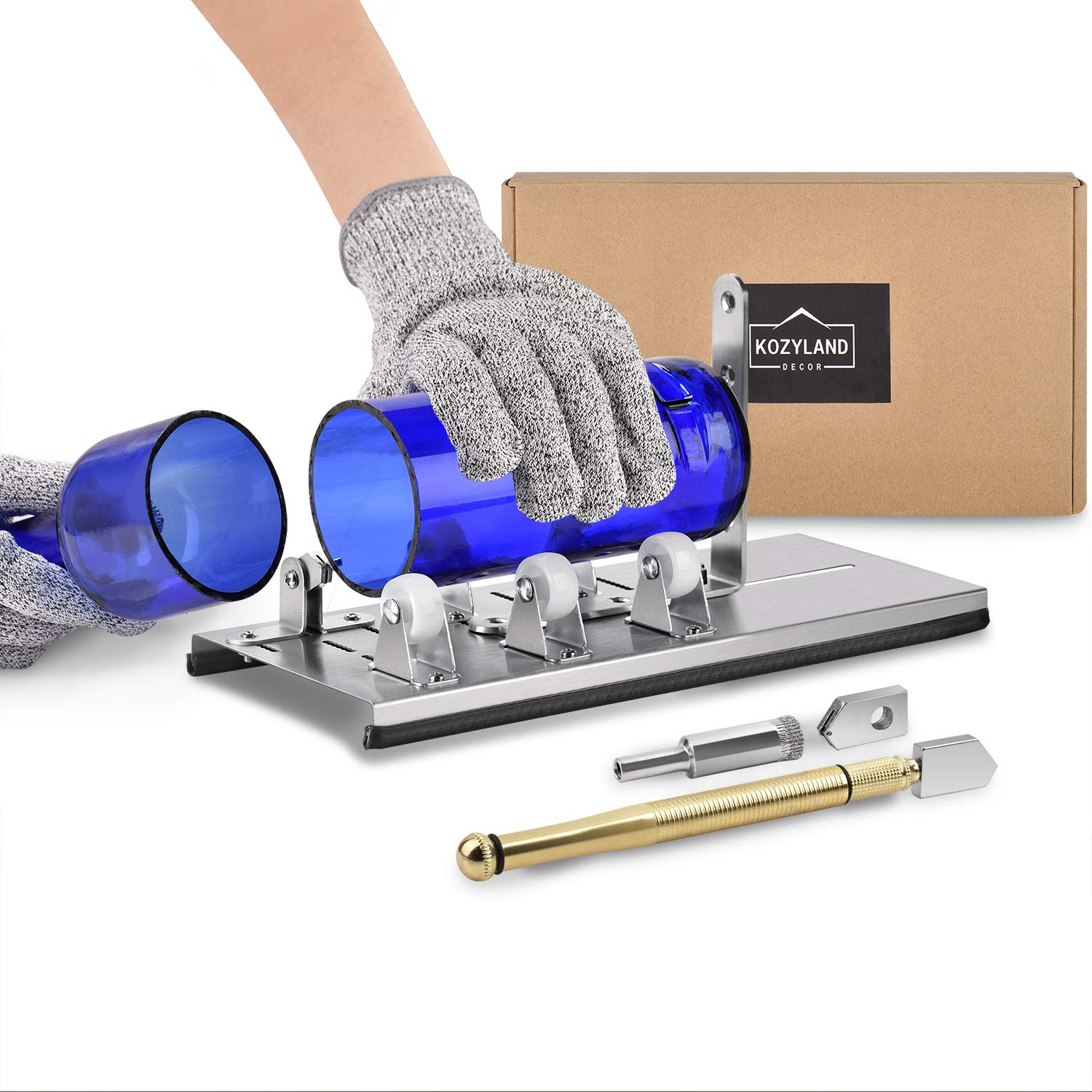 Bottle Cutter & Glass Cutter Kit, for Cutting Wine Bottle or Jars to Craft Glasses, (Gloves Not Included) by Kozyland