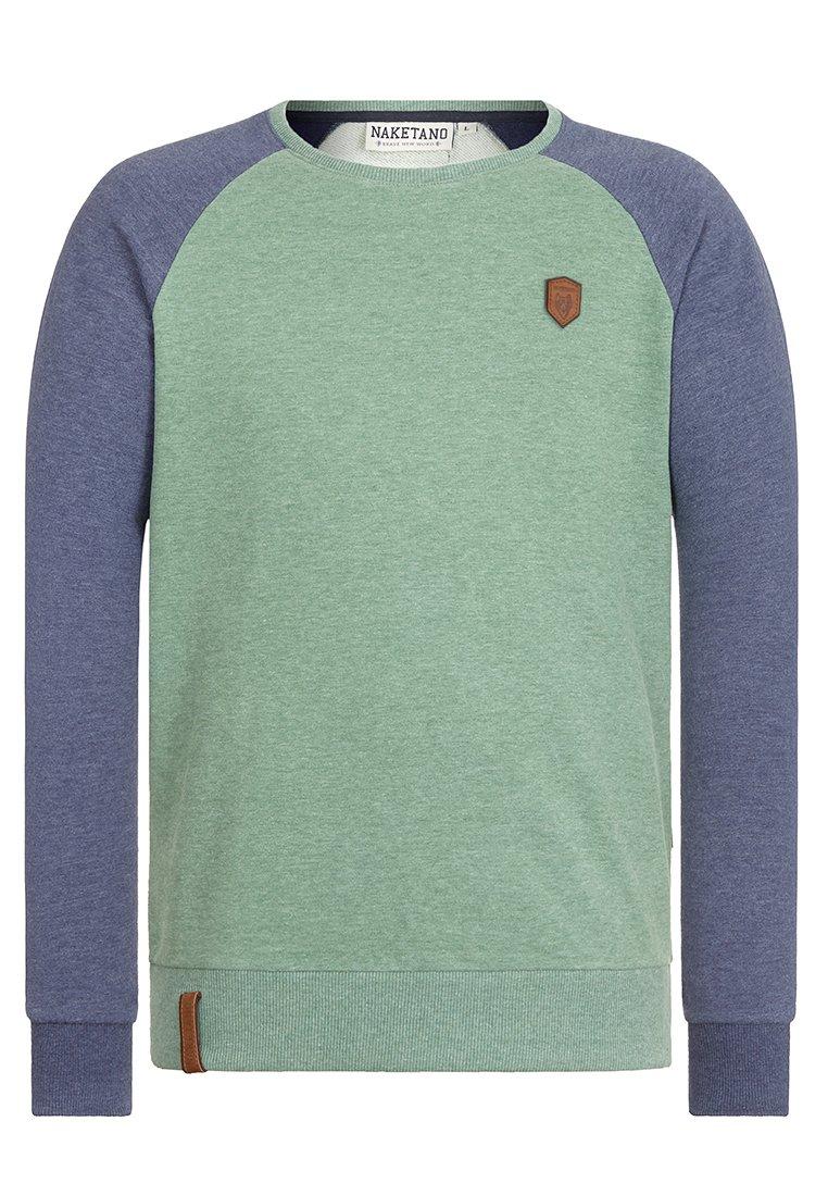 Naketano Men's Sweatshirt The Jordan Rules Leaf Green-Blue Grey Melange, XL