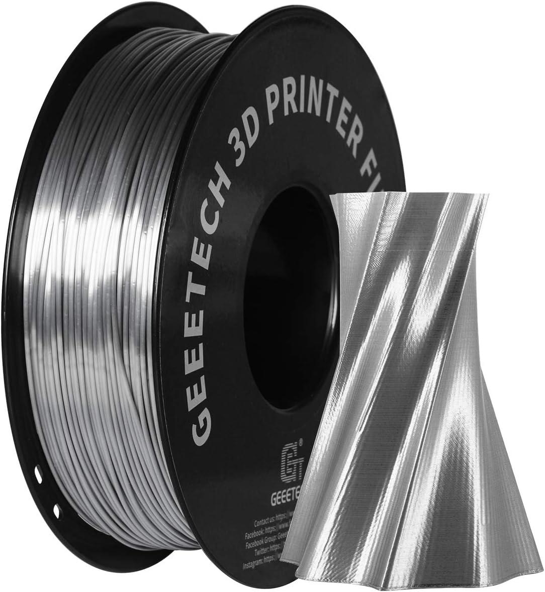 GEEETECH PLA filament 1.75mm Silk Argent, Imprimante 3D Filament PLA 1kg Bobine