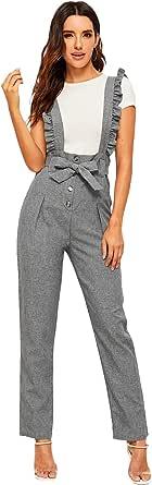 MAKEMECHIC Women's Casual High Waist Straight Leg Pants Ruffle Suspender Trousers