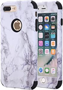 Ankoe iPhone 8 Plus Case, iPhone 7 Plus Case, Marble Stone Pattern Shockproof Full Body Protective Cover Dual-Layer Slim Soft Flexible Silicone and Hard PC for Apple iPhone 7 Plus/8 Plus (Black)