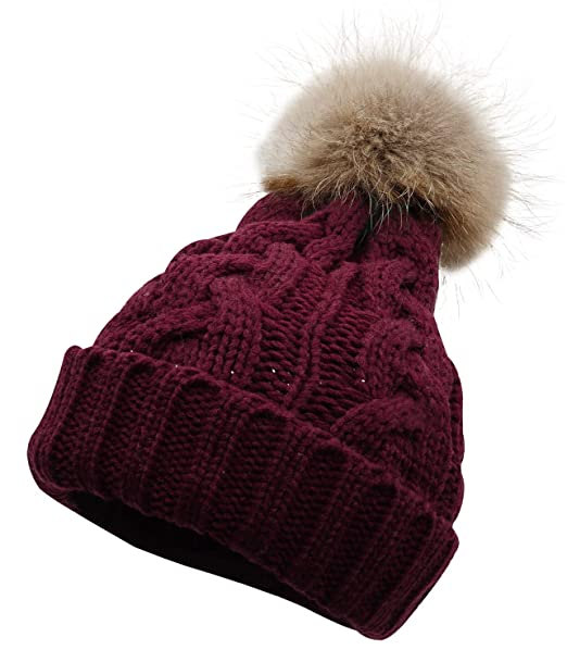 62759d6842b Lovful Women s Winter Hand Knit Real Fur Pompoms Beanie Hat ...