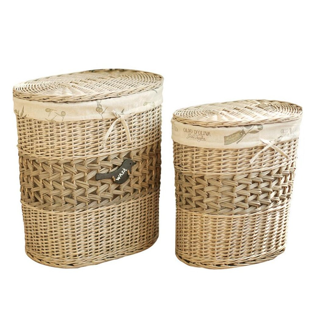 Lagerung Korb CHENGYI Überdachte Oval Schmutzige Kleidung Korb Rattan Weide Weide Weide Kleidung Weben Finishing Box Spielzeug Aufbewahrungsbox (größe : Large: 49  37  56cm) dabda1