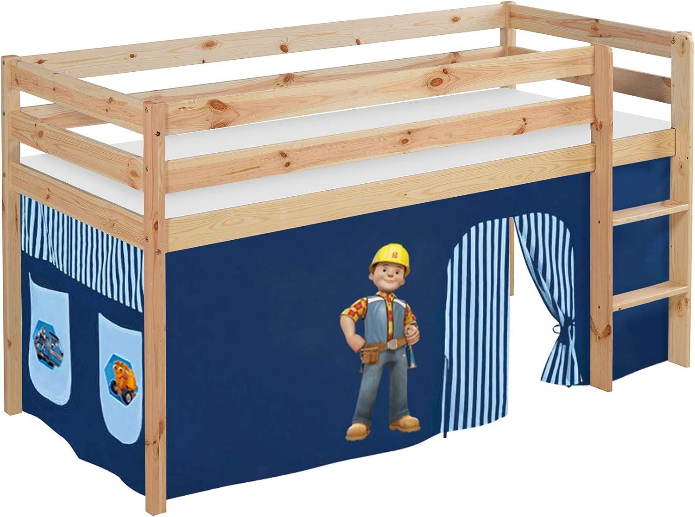 Lilo Kids Juego Cama Jelle Bob el Constructor Cuna con Cortina, Madera, Natural, 208 x 98 x 113 cm: Amazon.es: Hogar