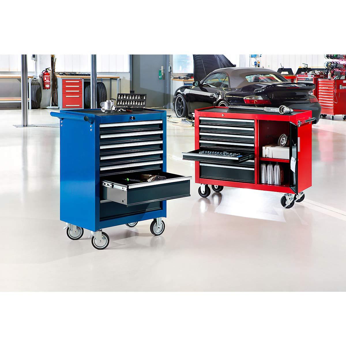7 Schubladen Werkzeugwagen Schubladenrollwagen blau HxBxT 995 x 680 x 458 mm Werkstattwagen