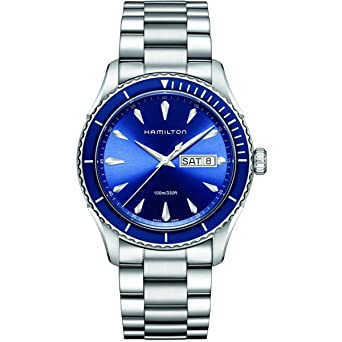 99de52cc158 Image Unavailable. Image not available for. Color  Hamilton Men s H37551141 Jazz  Master Sea View Analog Display Swiss Quartz Silver Watch