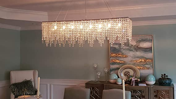 7PM Modern Crystal Chandelier Rectangle Chrome Chandelier Contemporary Pendant Lighting Fixture for Dining Room Living Room