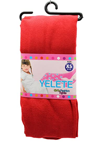 d964467ea4 Amazon.com  Yelete Girl s Red Colored Fashion Tights (Size  0-12 ...
