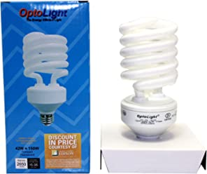 OptoLight Compact Fluorescent 42W Bulb with Light output of 150w Incandescent