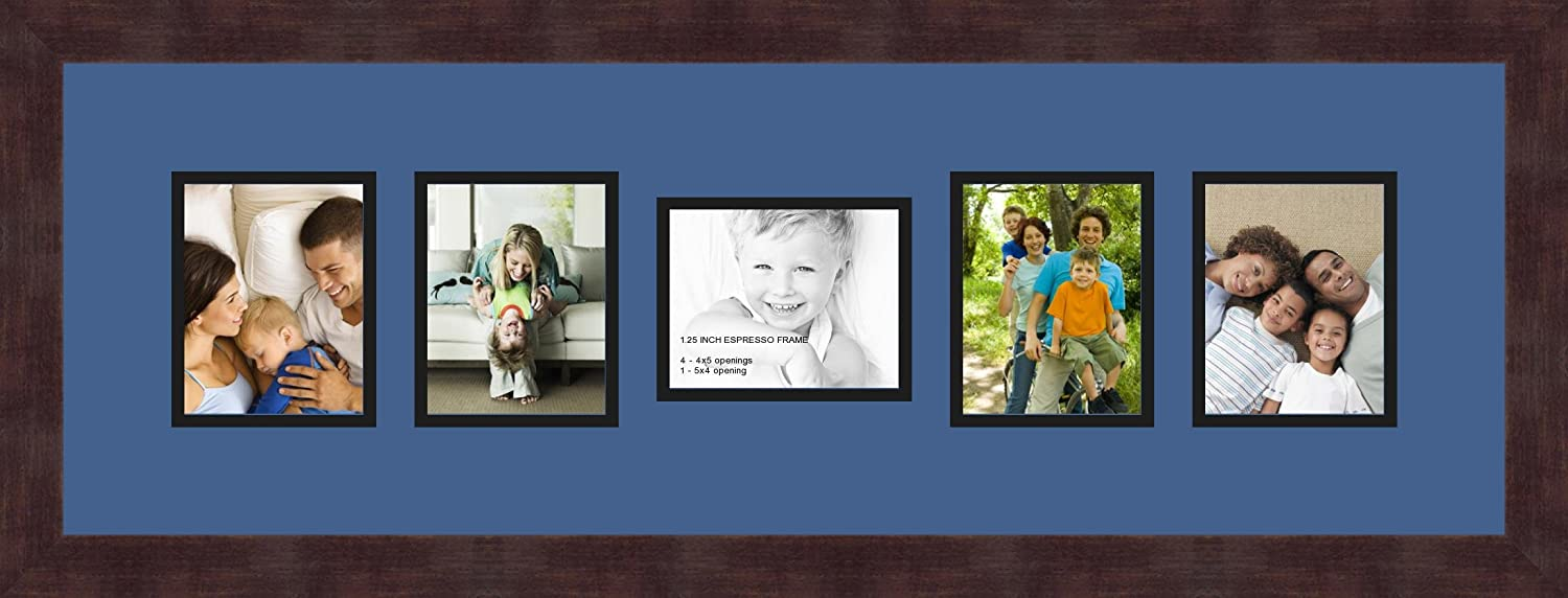 Art to Frames Double-Multimat-450-776//89-FRBW26061 Collage Frame Photo Mat Double Mat with 5-4x5 Openings and Espresso Frame