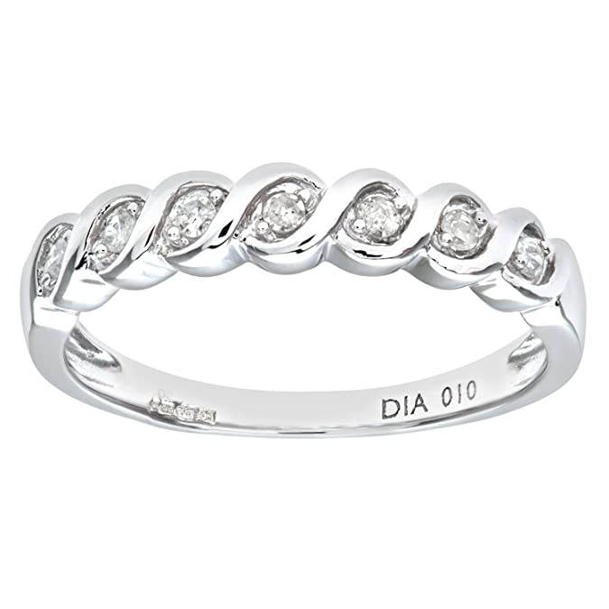 7b6cd515a Naava Bague Femme - Or blanc (9 cts) 1.9 Gr - Diamant 0.01 Cts ...