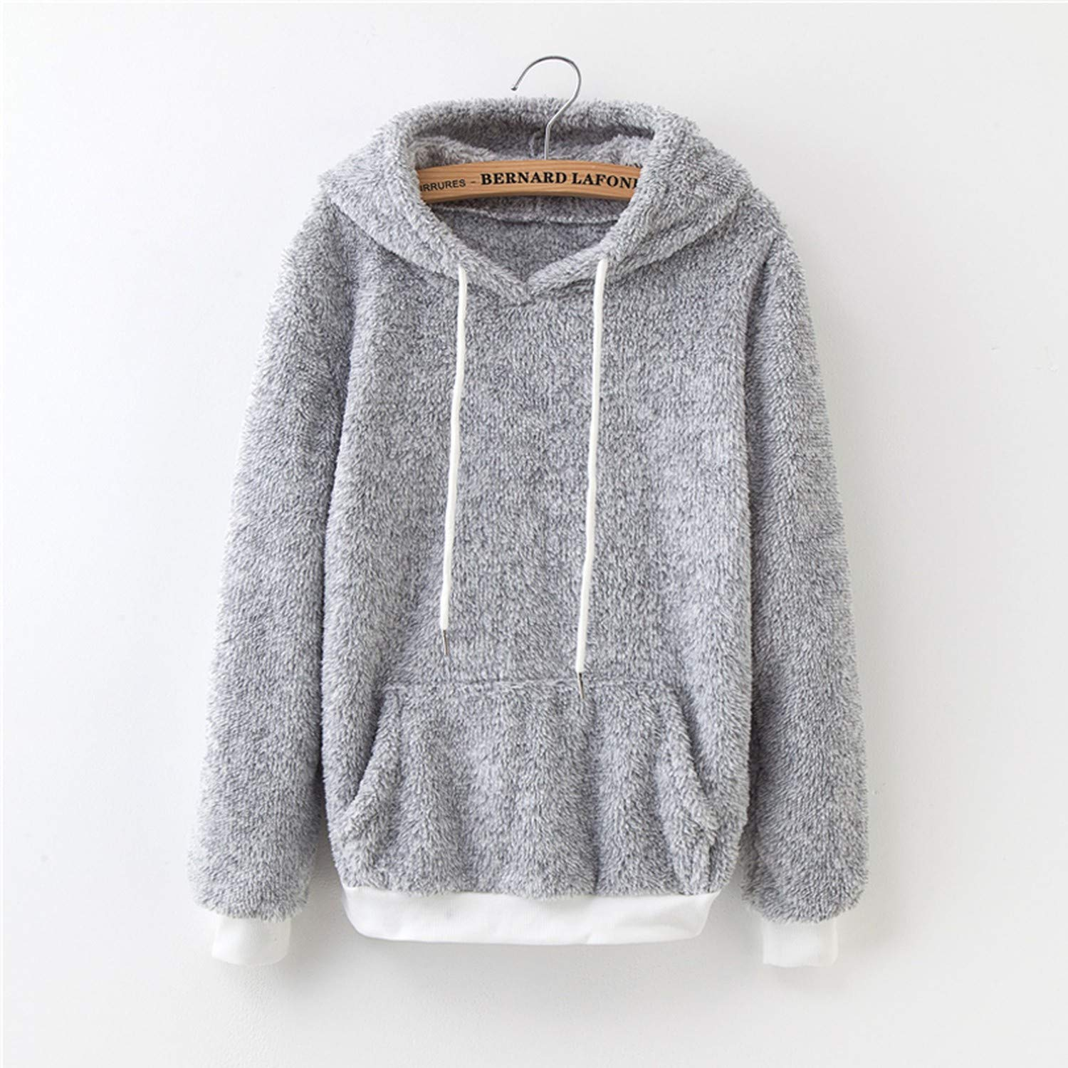 White Island Autumn Front Pocket Harajuku Casual Coat with Hoody Winter Pink Gray Pullover Thick Loose
