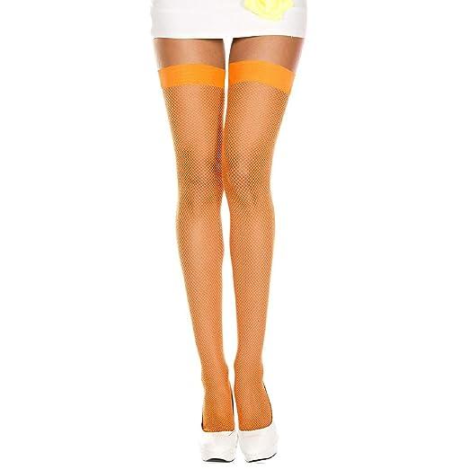 092fb7e31 Amazon.com  Neon Orange Fishnet Thigh High Stocking