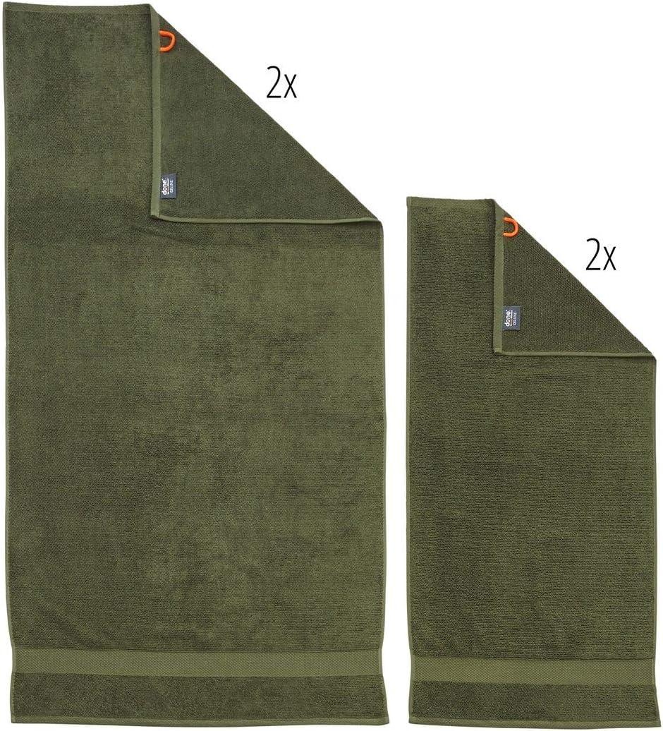 Handtuch-Set Deluxe 4 TLG 8 Trendfarben - 2 Handt/ücher 2 Duscht/ücher Frottee Premium Qualit/ät aus 100/% Baumwolle Farbe:Taupe