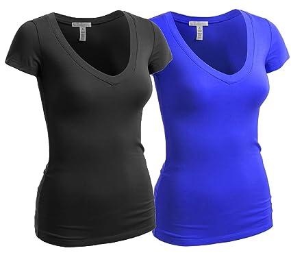 c61cd8a8342 Women s Plain Short Sleeve T-Shirt V-Neck Cotton Spandex Top Shirt -  Multiple Colors at Amazon Women s Clothing store