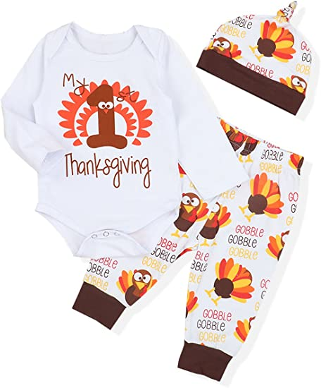 Baby Christmas Set Toddler Lovley Turkey Outfit Halloween Clothing Set 3-8T