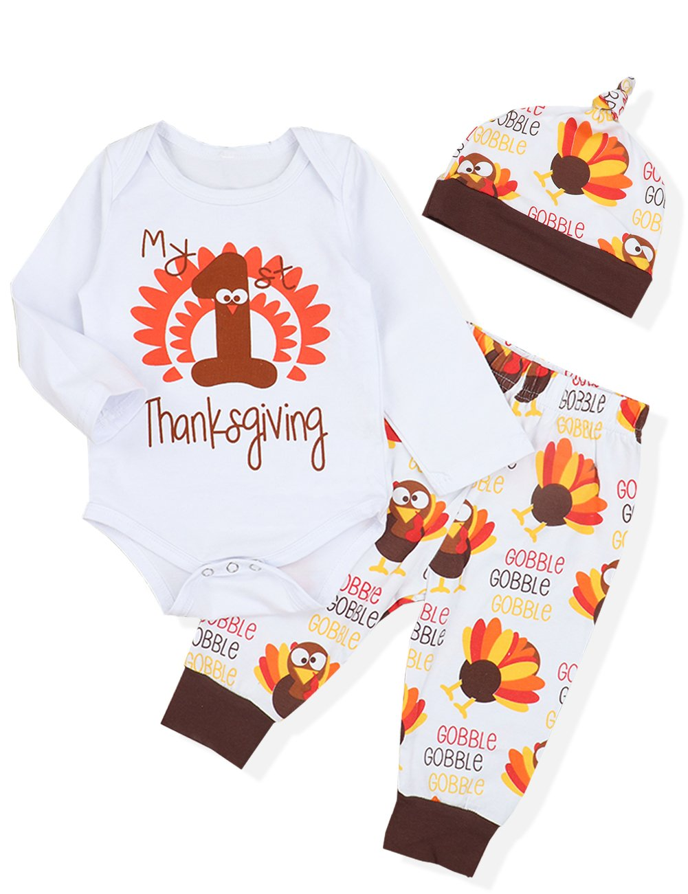 7a5e3a1bf430 Galleon - 3PCS Newborn Baby Boys Girl Clothes My First Thanksgiving  Romper,Cute Turkey Pattern Pants + Hat Onesies Outfit Set(0-3 Months)