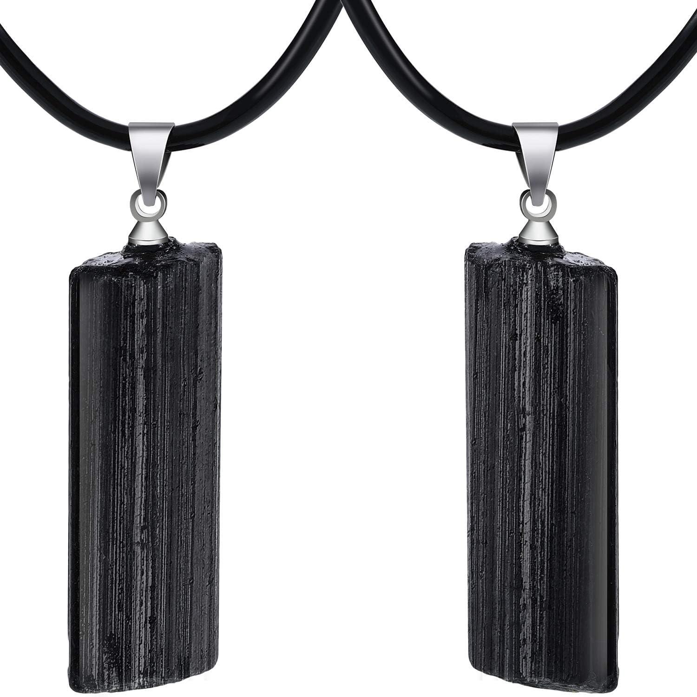 2 Piezas Collares de Cristal de Turmalina Negro Natural Collar de Colgante de Piedra Preciosa Chakra de Trenzado Hecho a Mano para Mujeres Hombres (Estilo 2)
