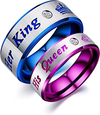 Vanski 2PCS His Queen /& Her King Stainless Steel Couple Ring for Him and Her Promise Wedding Ring Set