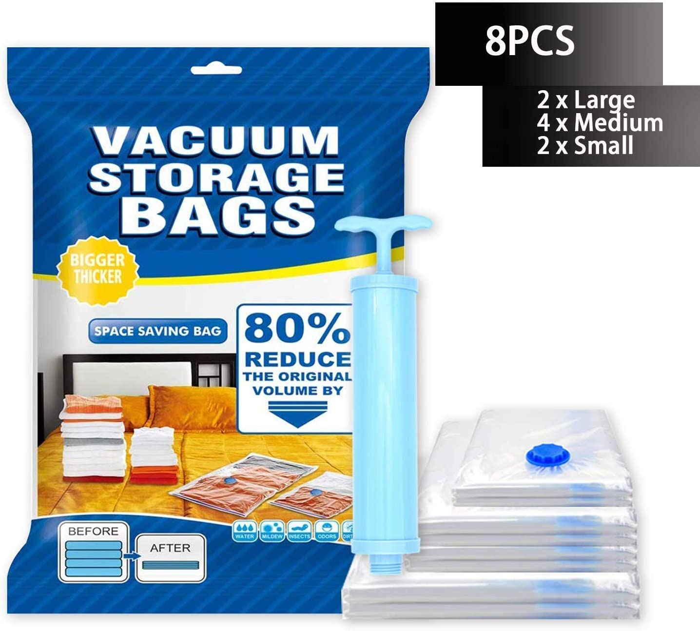 BZ Vacuum Storage Bags 8 Pack 80% More Vacuum Seal Bags for Clothes, Comforters, Pillows - Travel Hand Pump Included Women's Day Gift
