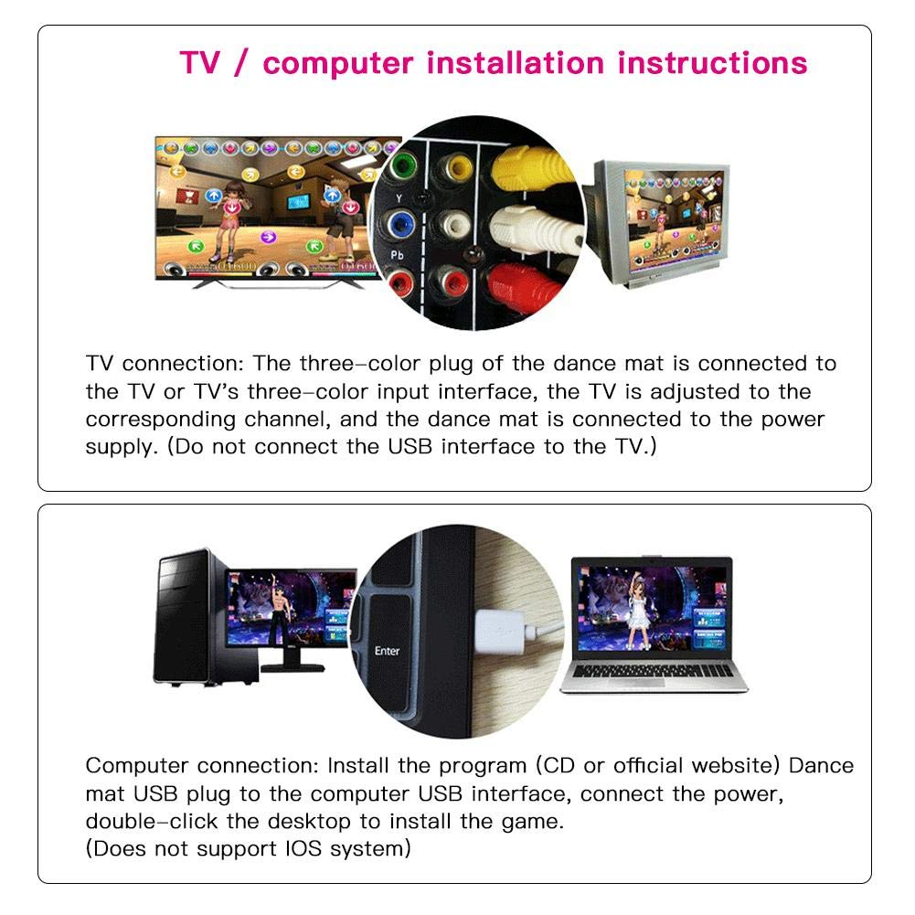 Assiduousic Dance Mats, Wireless Anti-Slip Weight Loss Slimming Exercise Fitness Massage Somatosensory Dance Machine with Computer TV Dual Use, Support Memory Card Download by Assiduousic (Image #3)